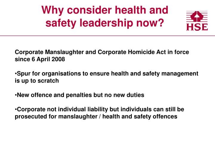 Why consider health and safety leadership now