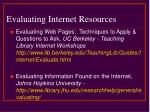 evaluating internet resources