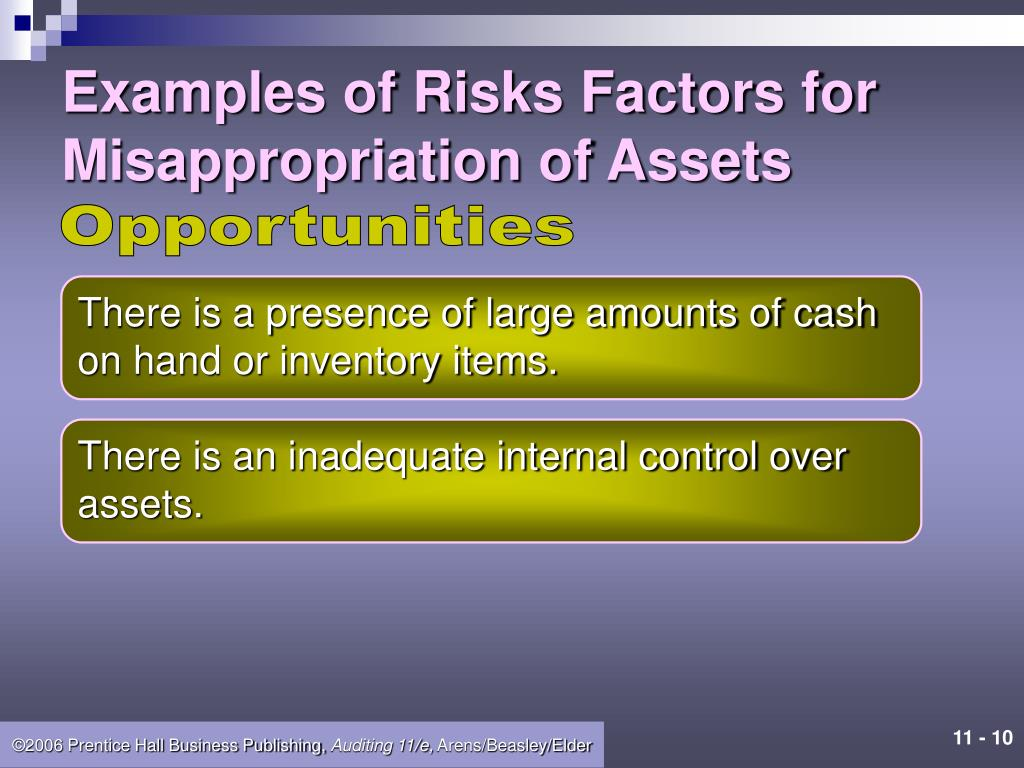 Examples of Risks Factors for Misappropriation of Assets