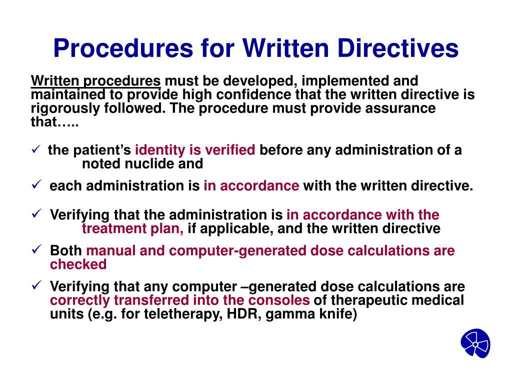 Procedures for Written Directives