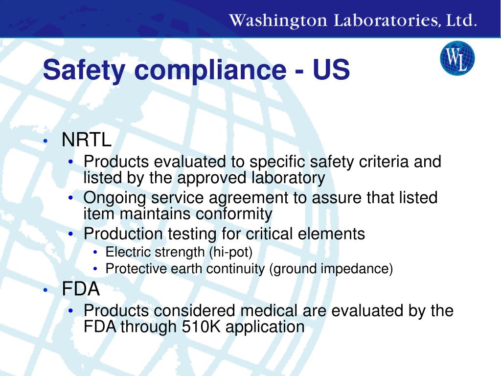 Safety compliance - US