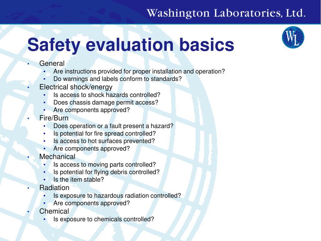 Safety evaluation basics