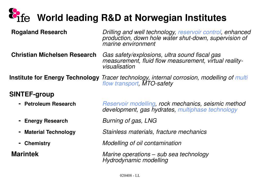 World leading R&D at Norwegian Institutes
