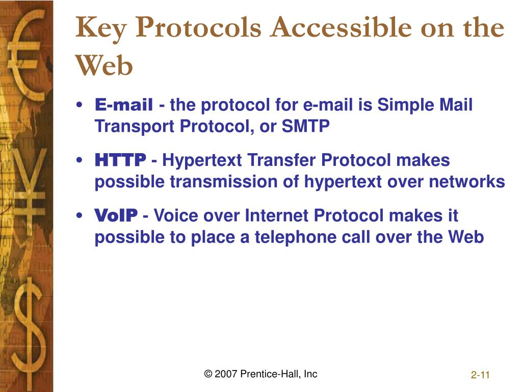 Key Protocols Accessible on the Web