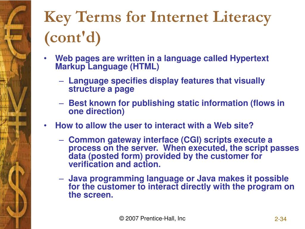 Key Terms for Internet Literacy (cont'd)