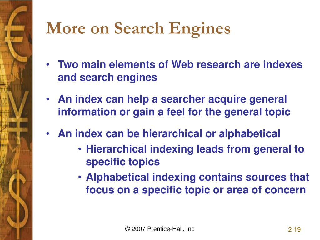 More on Search Engines