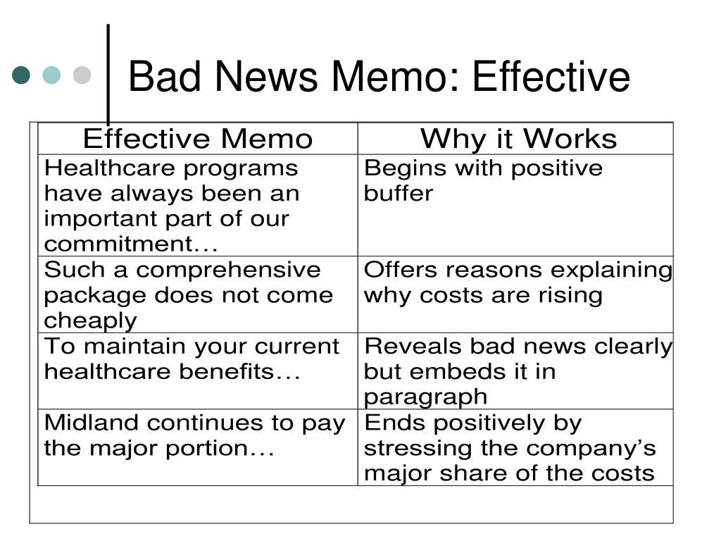 Bad News Memo: Effective