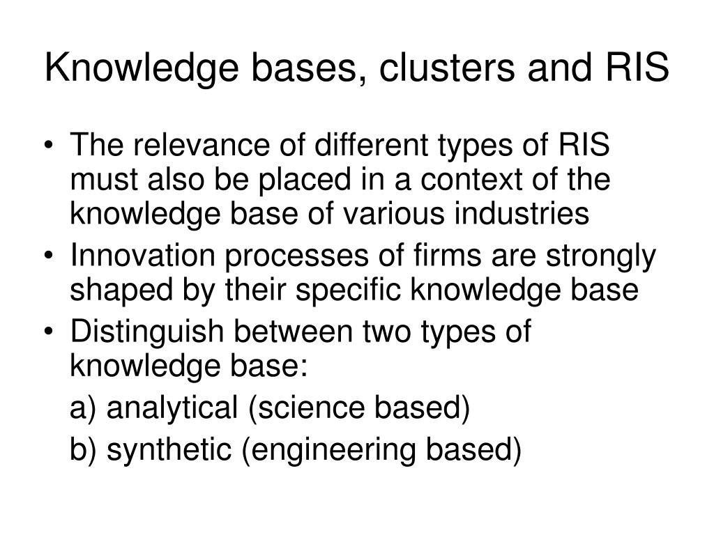 Knowledge bases, clusters and RIS
