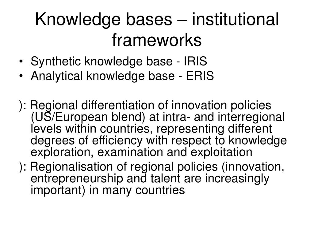 Knowledge bases – institutional frameworks