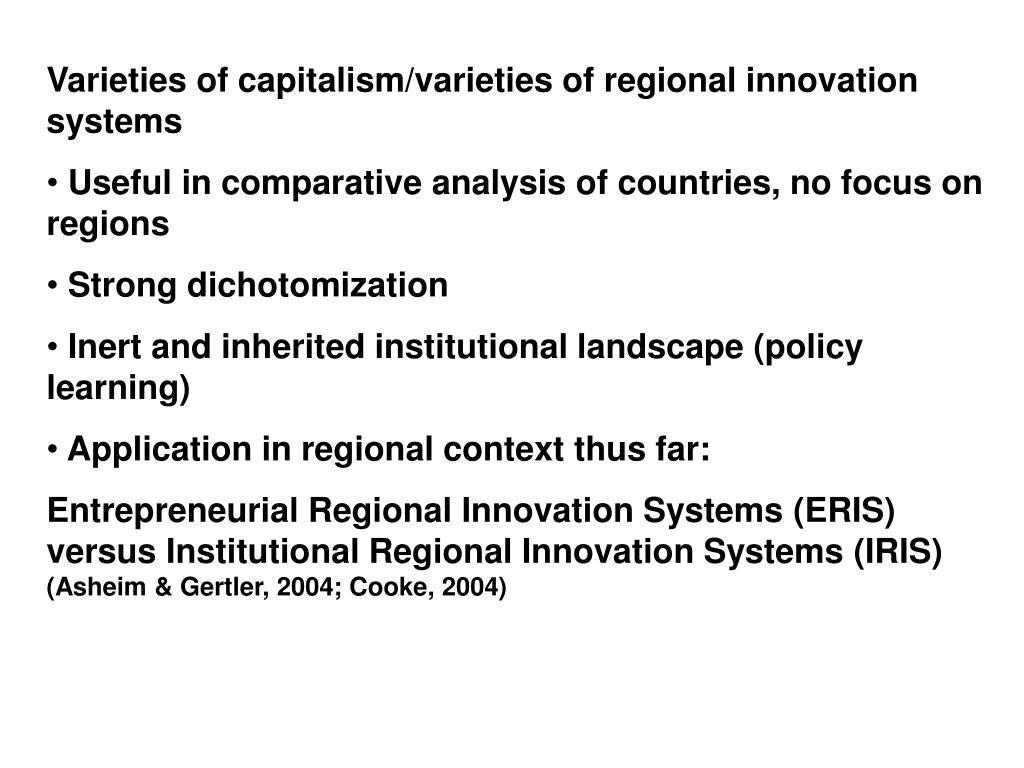 Varieties of capitalism/varieties of regional innovation systems
