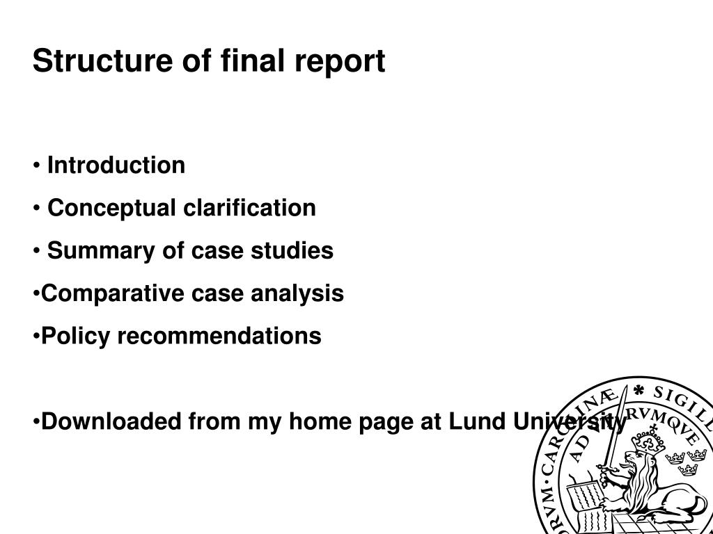 Structure of final report