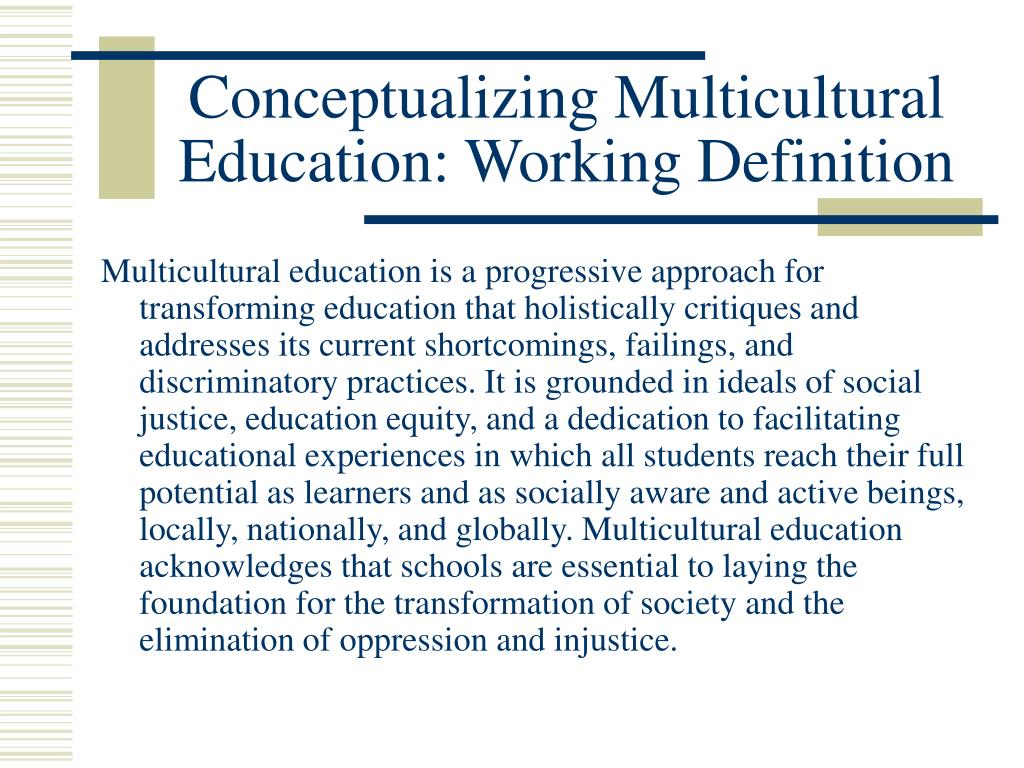 Conceptualizing Multicultural Education: Working Definition