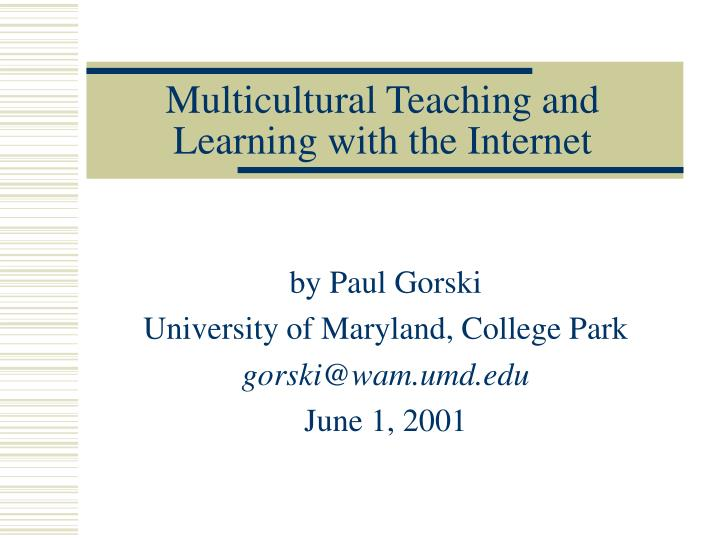 Multicultural teaching and learning with the internet