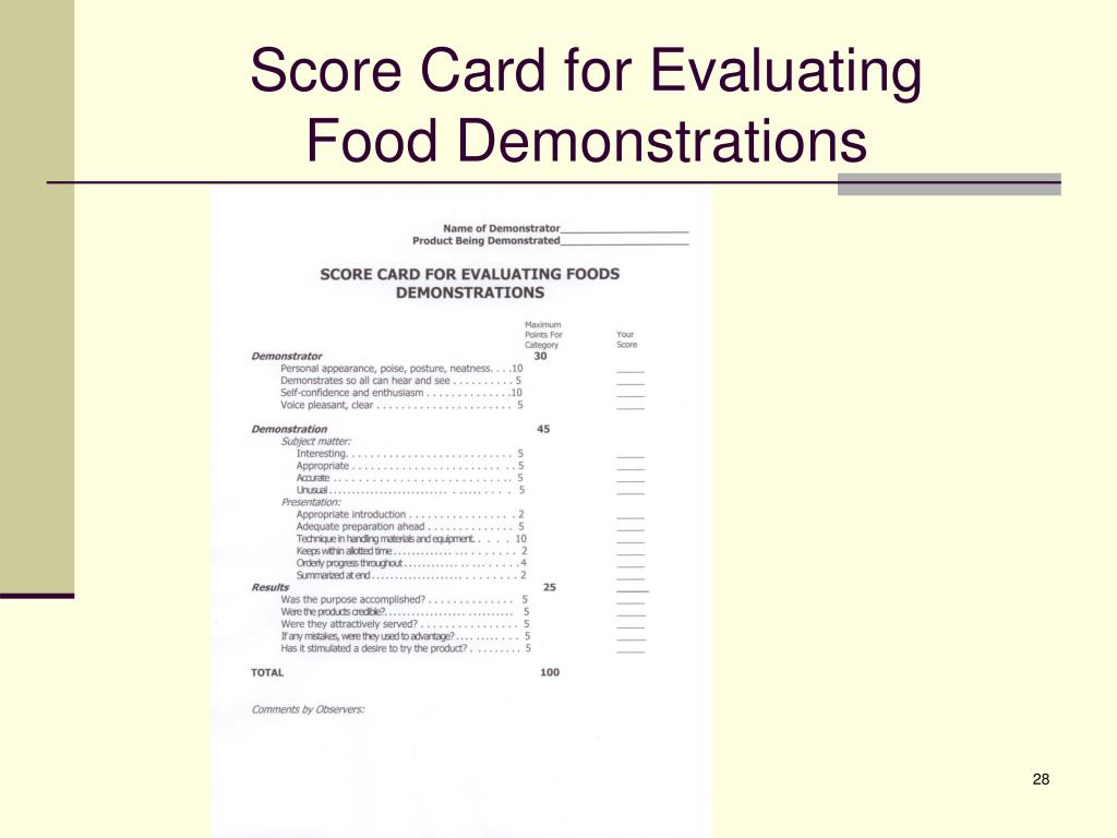 Score Card for Evaluating