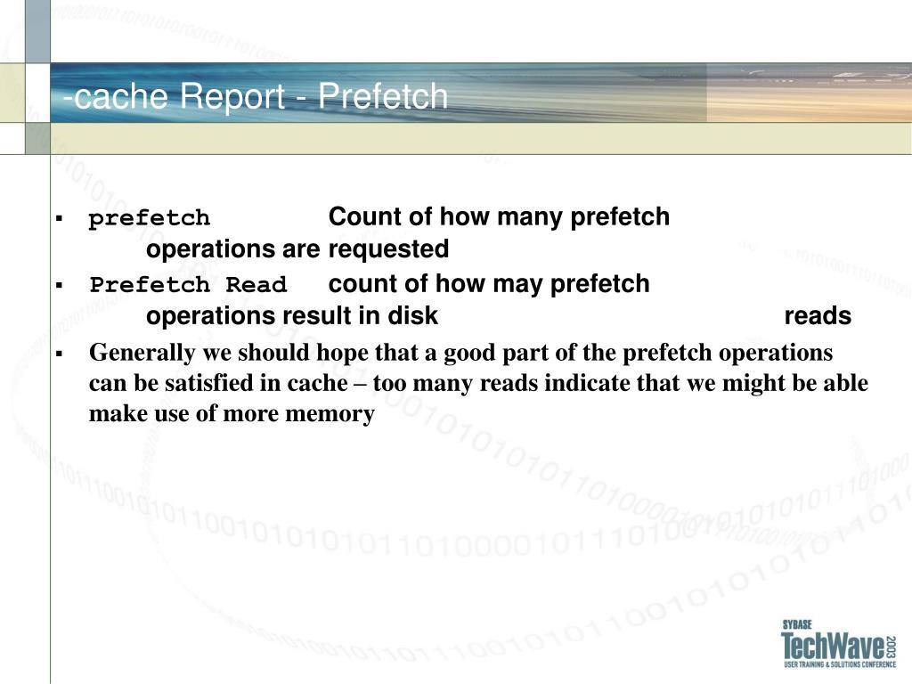 -cache Report - Prefetch