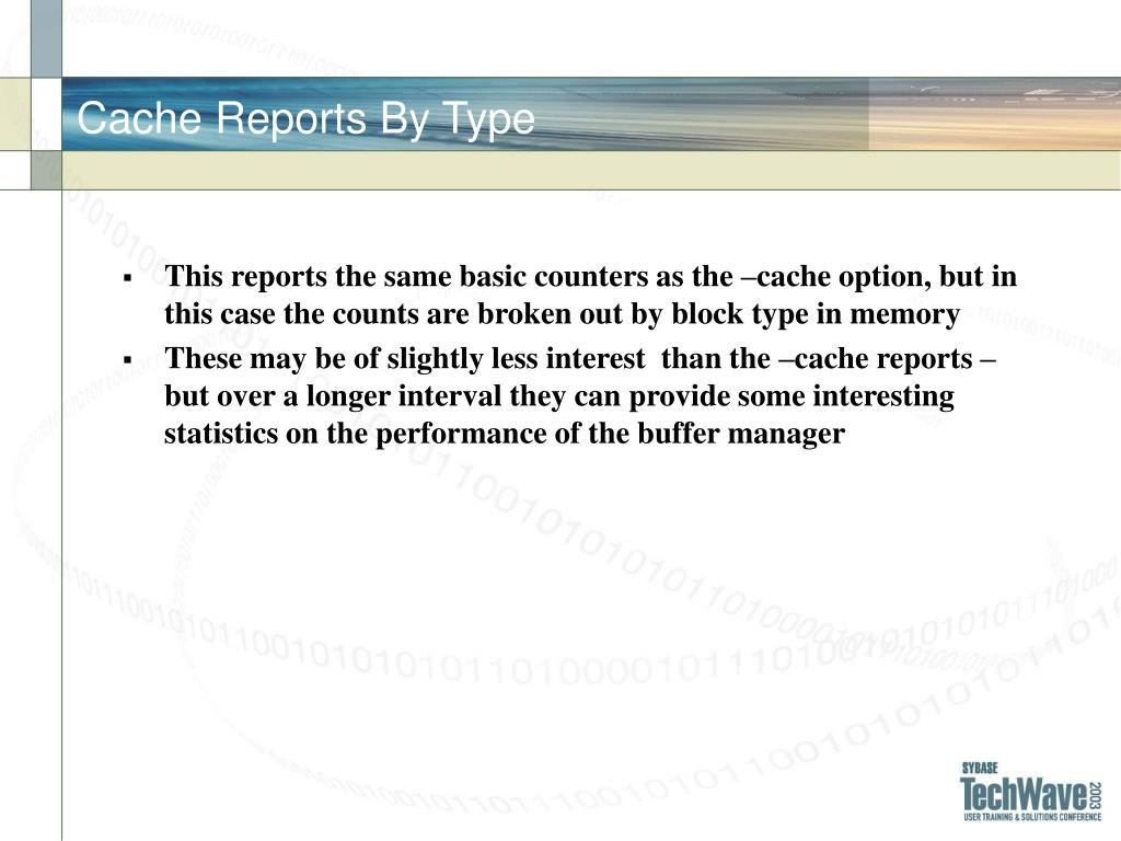 Cache Reports By Type