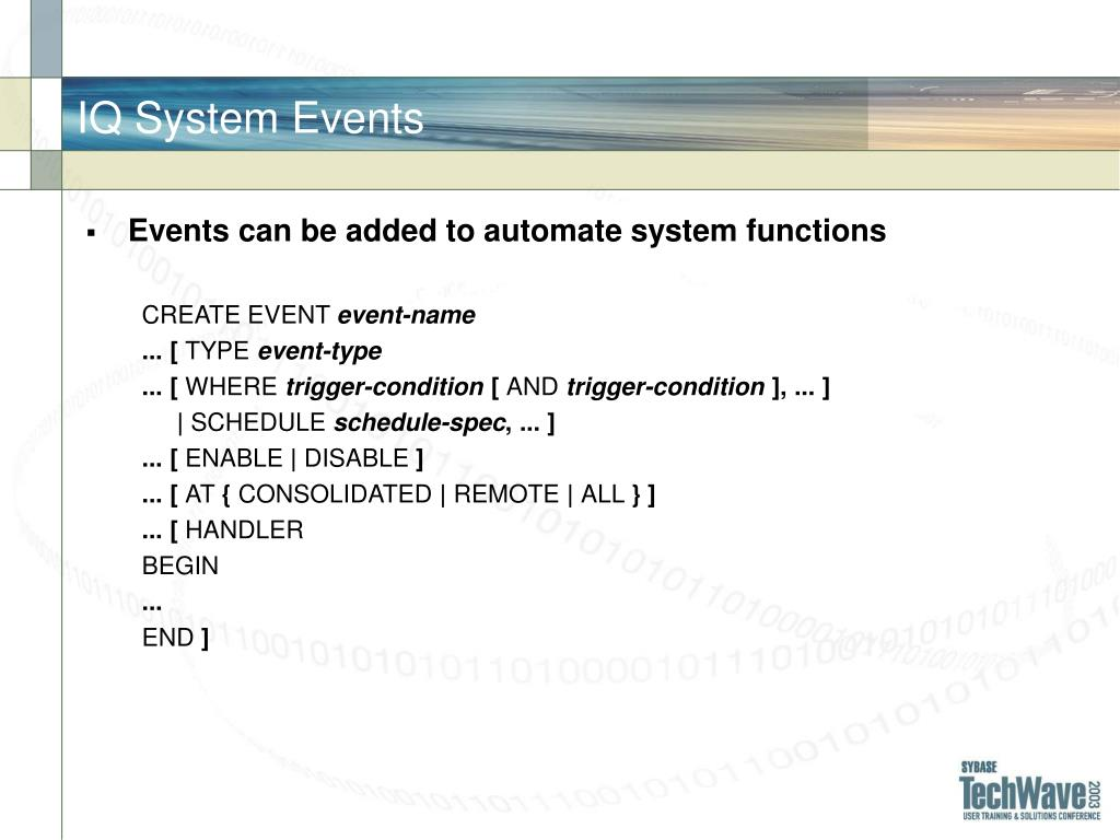 IQ System Events