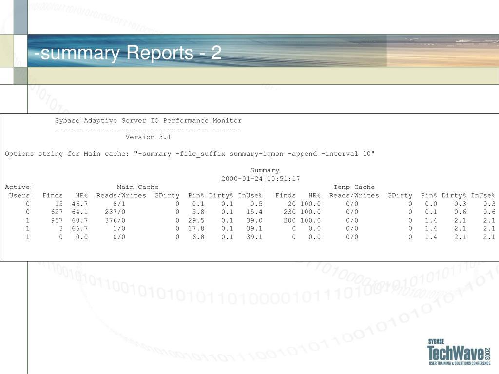 -summary Reports - 2