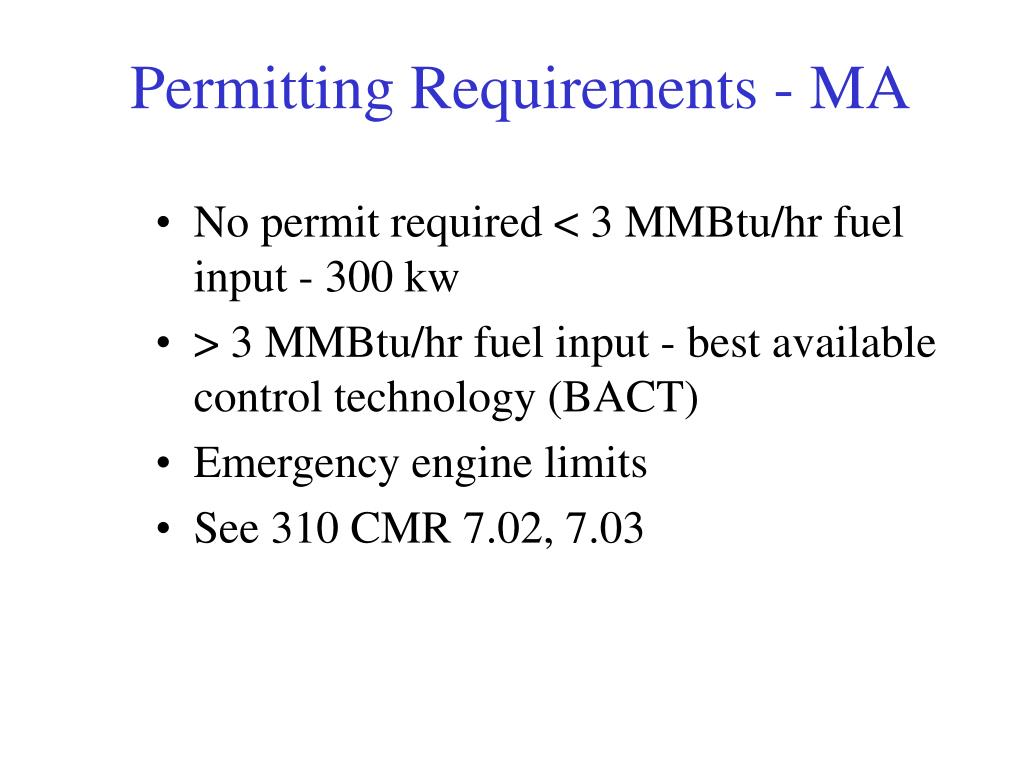 Permitting Requirements - MA