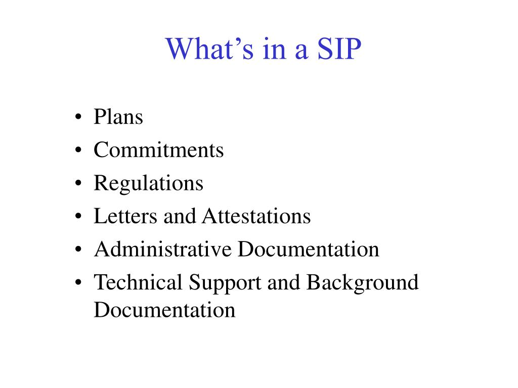 What's in a SIP