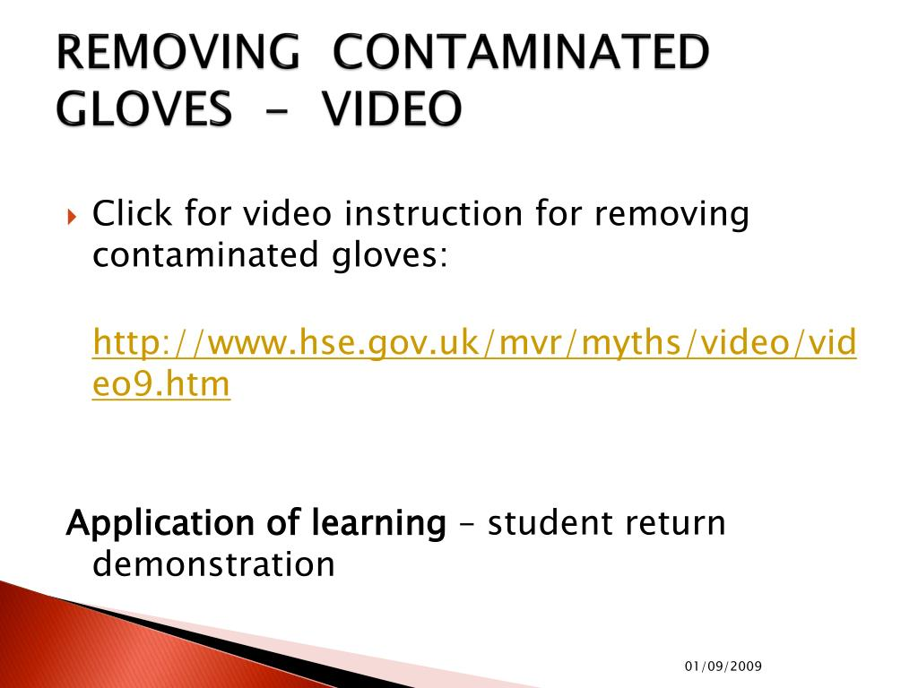 REMOVING  CONTAMINATED GLOVES  -  VIDEO