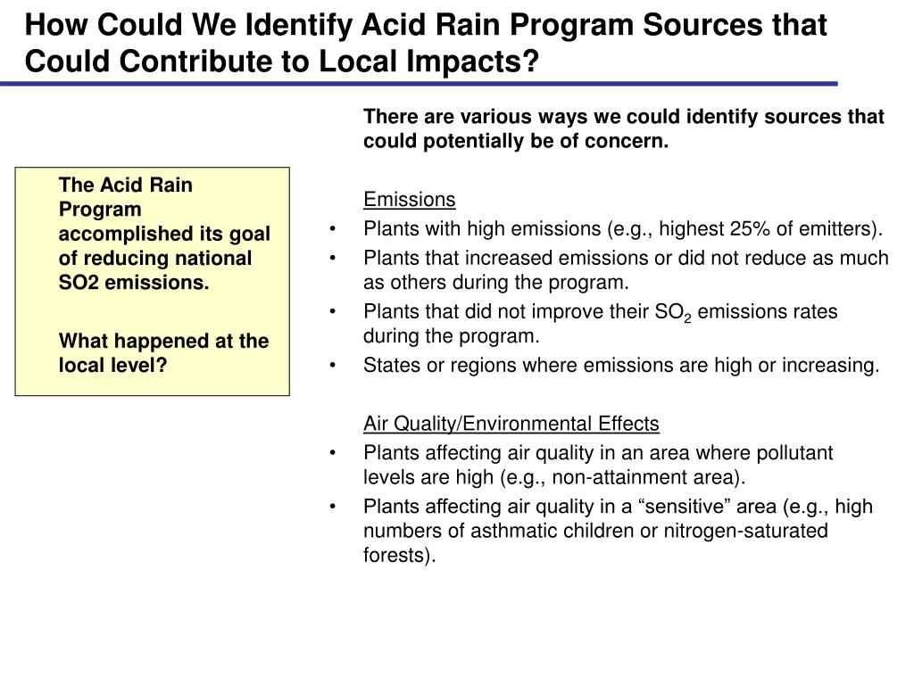 How Could We Identify Acid Rain Program Sources that Could Contribute to Local Impacts?