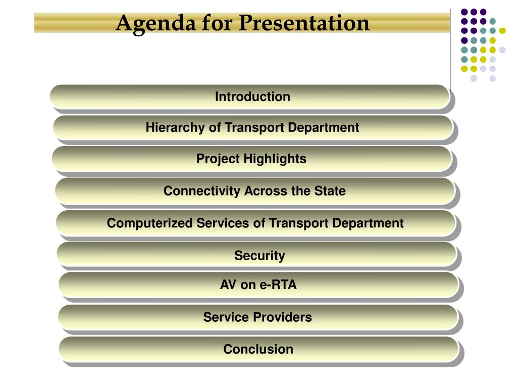 Agenda for Presentation