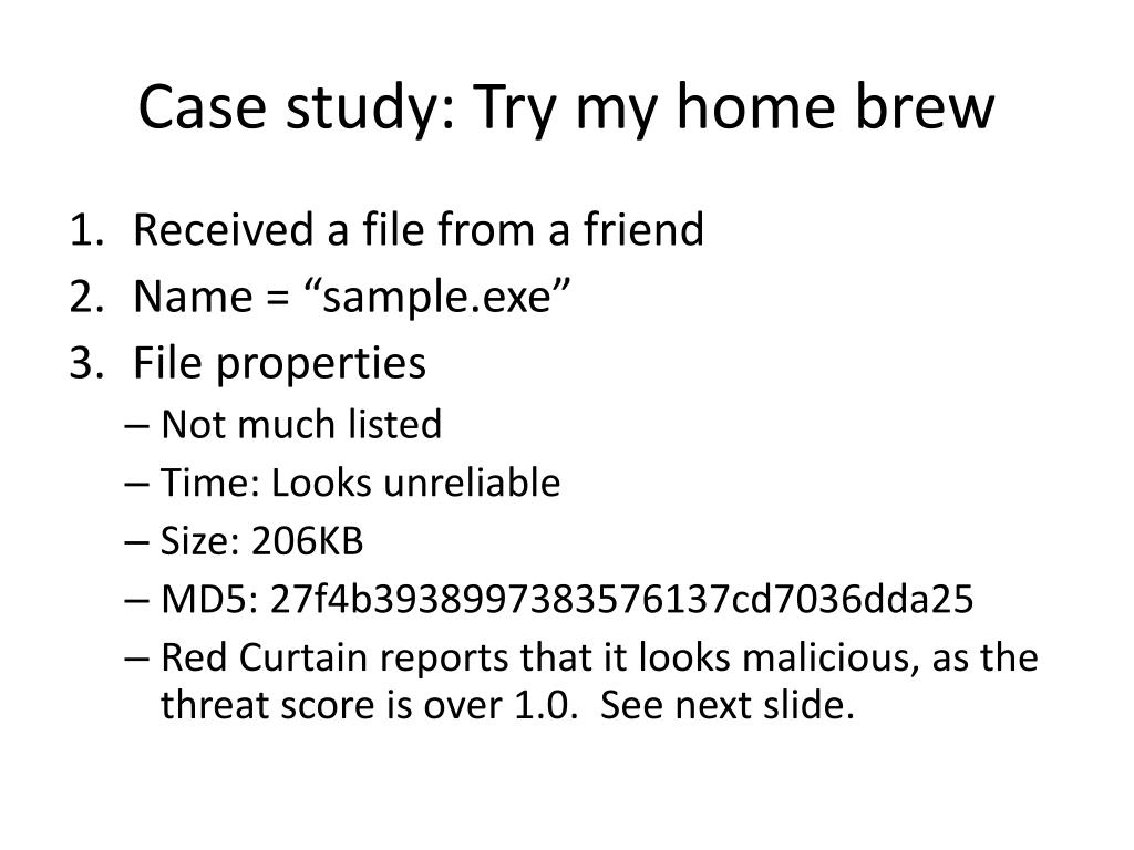 Case study: Try my home brew