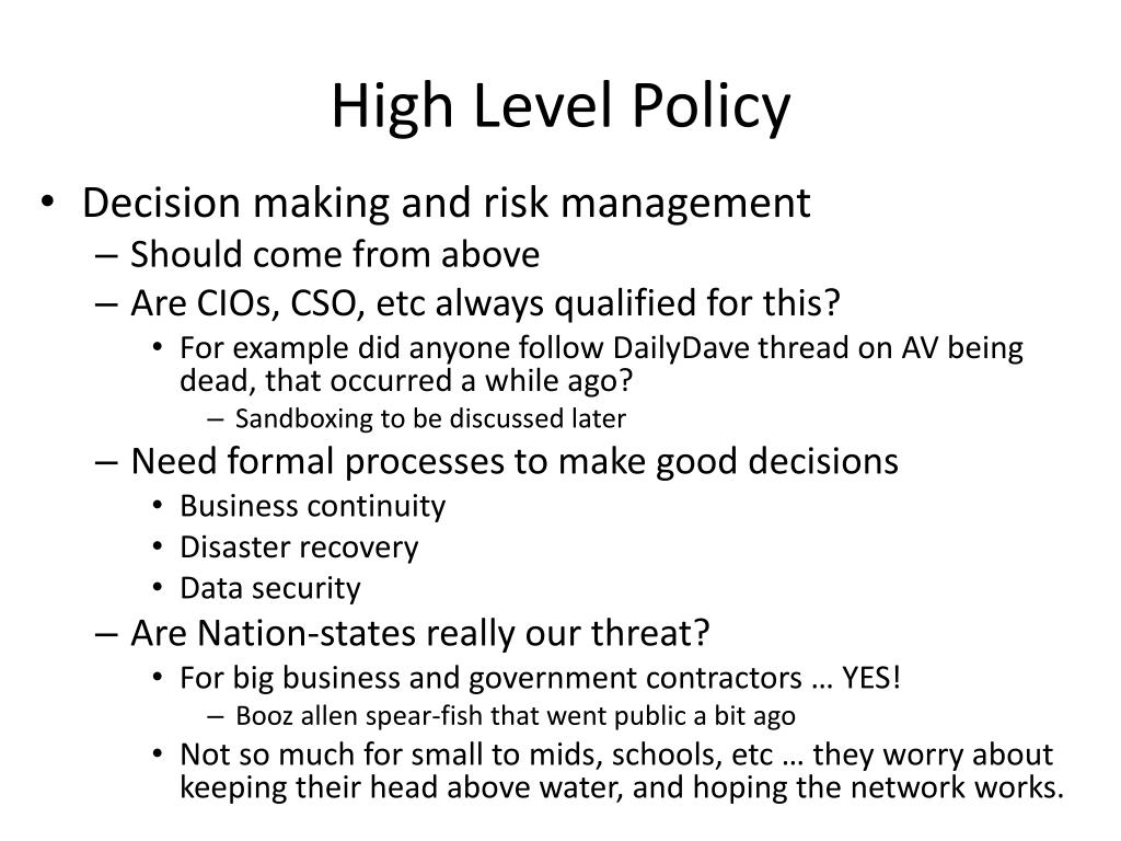 High Level Policy