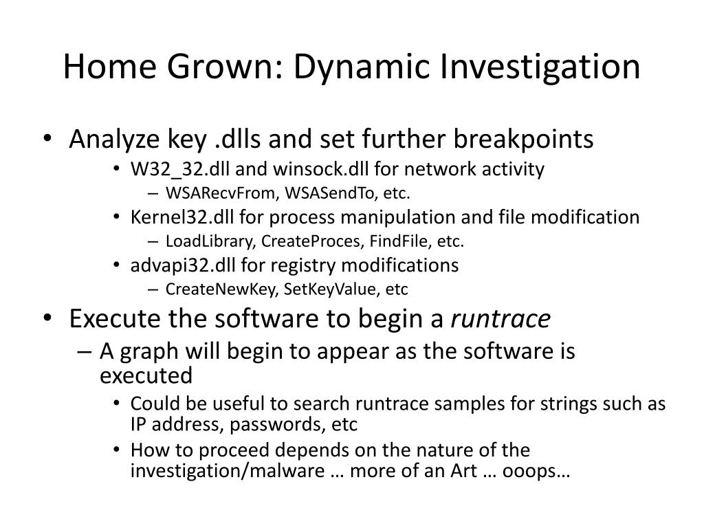Home Grown: Dynamic Investigation