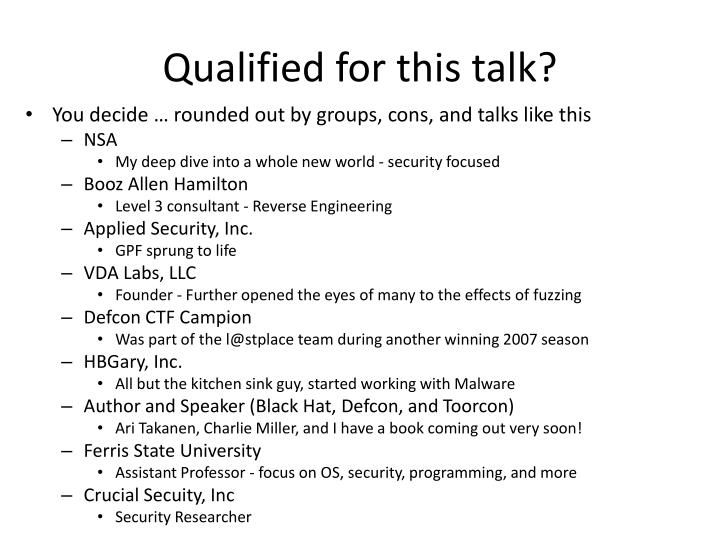 Qualified for this talk