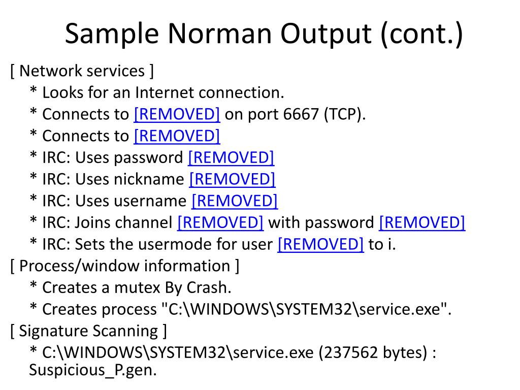 Sample Norman Output (cont.)