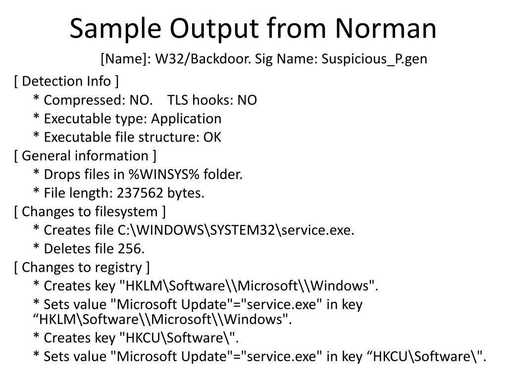 Sample Output from Norman