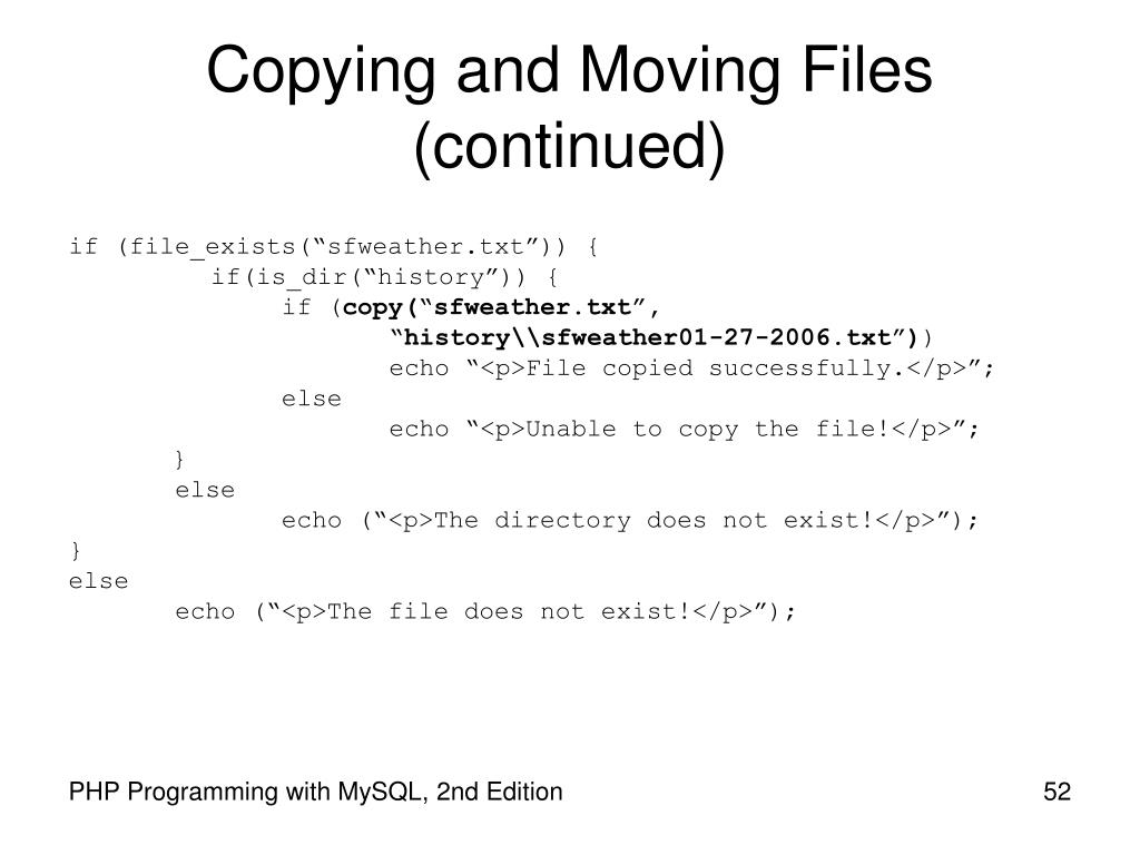 Copying and Moving Files (continued)