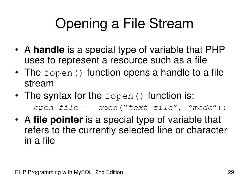 Opening a File Stream
