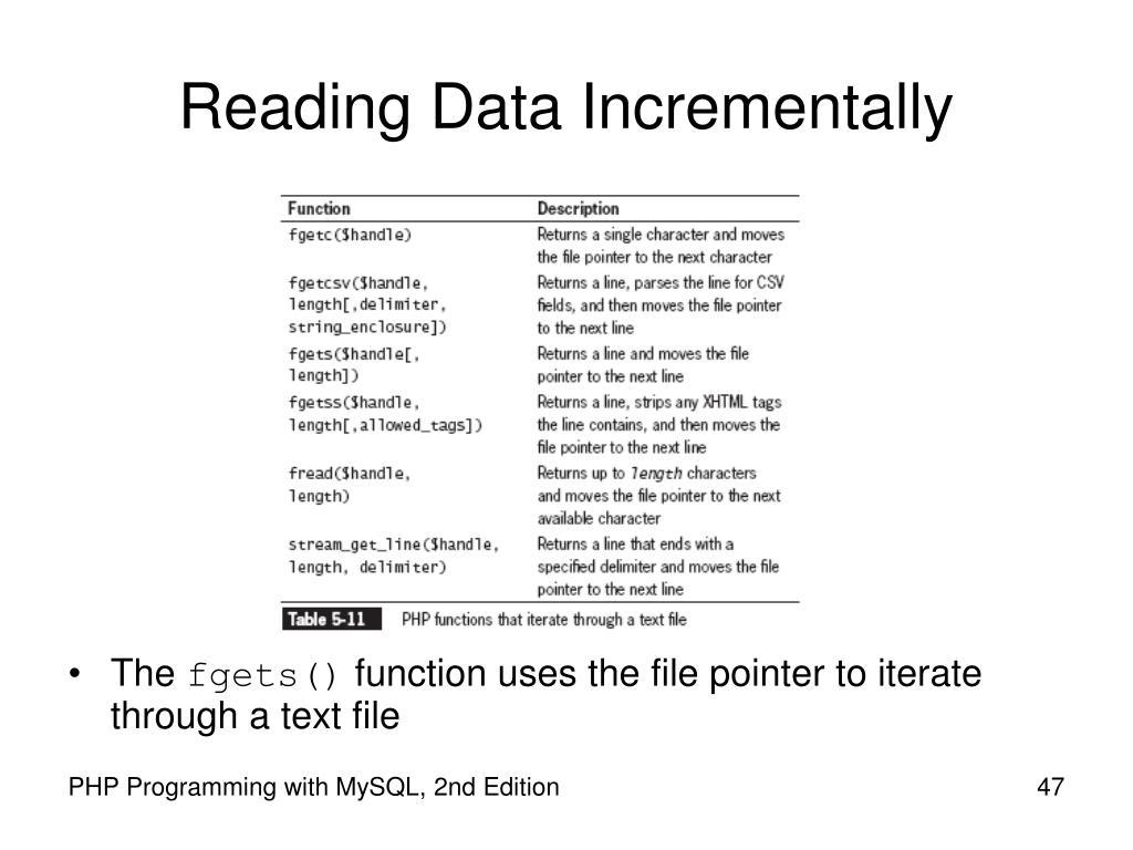 Reading Data Incrementally