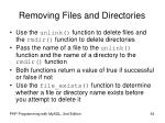 removing files and directories