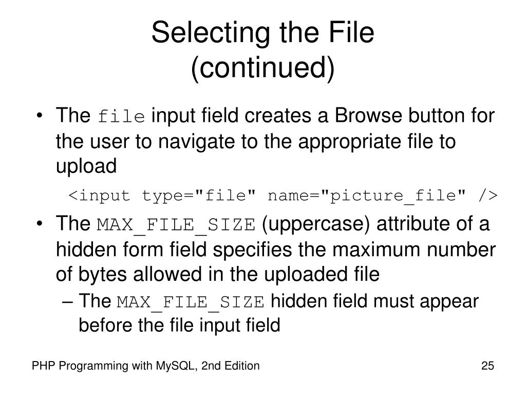 Selecting the File