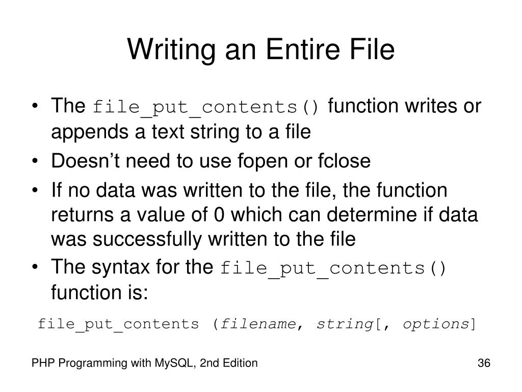 Writing an Entire File