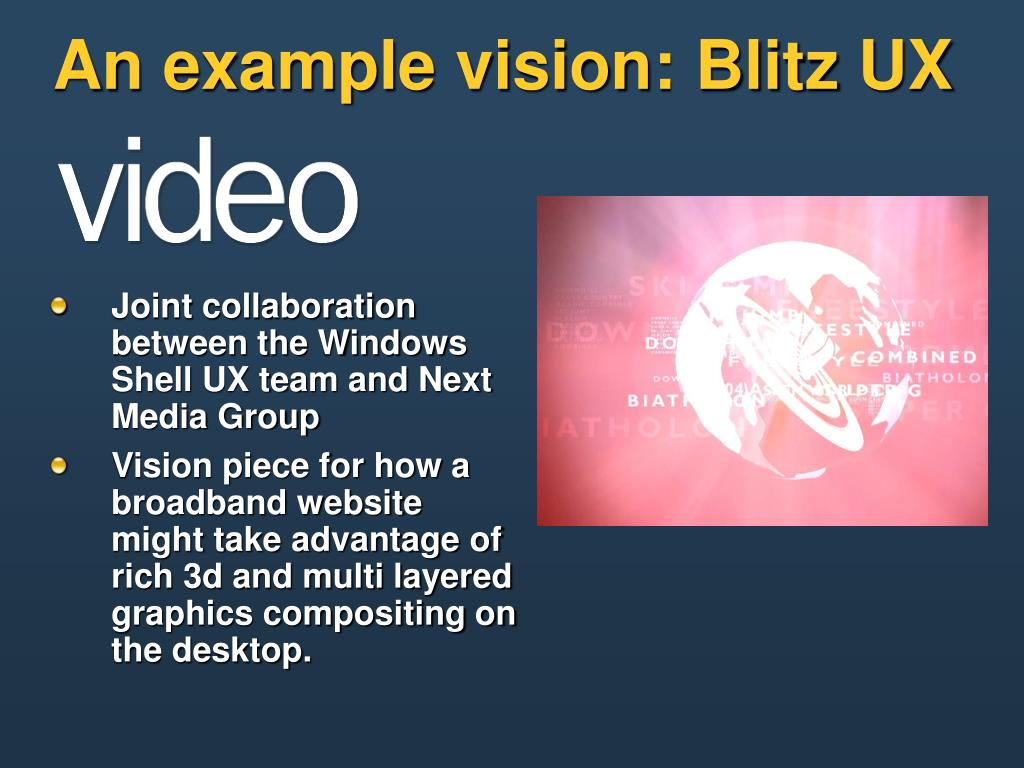 An example vision: Blitz UX