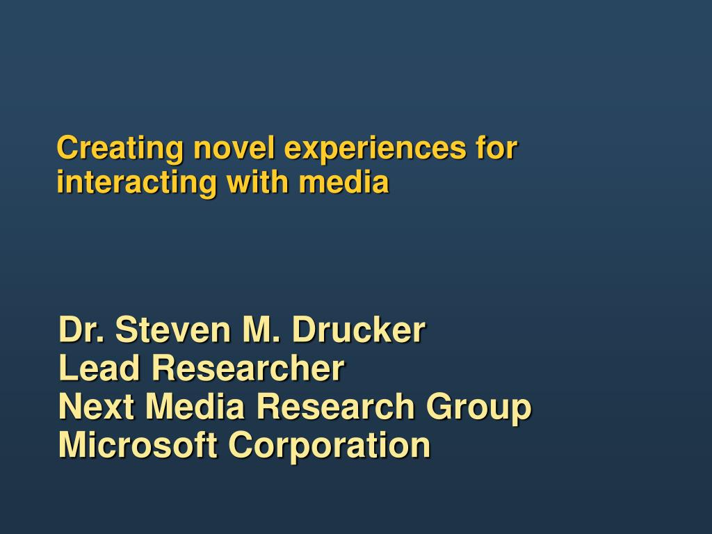Creating novel experiences for interacting with media