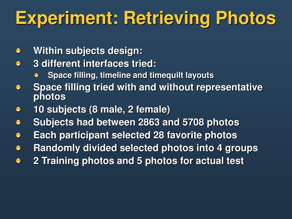 Experiment: Retrieving Photos