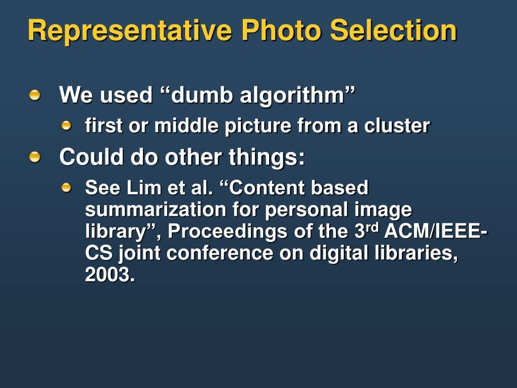 Representative Photo Selection