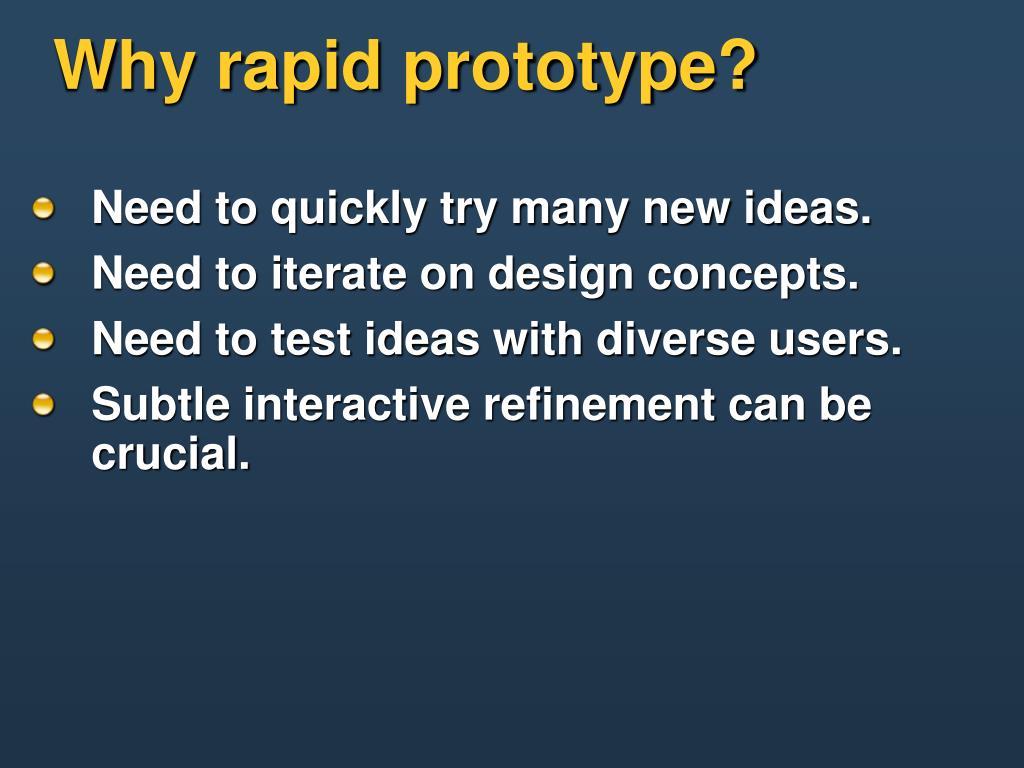 Why rapid prototype?