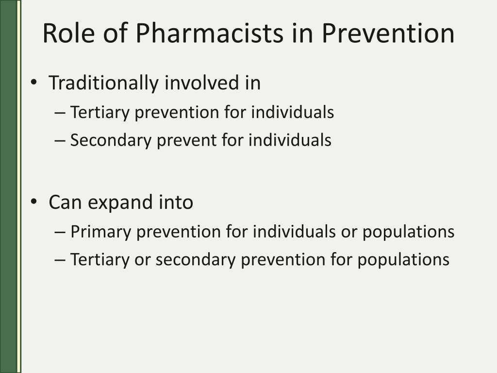 Role of Pharmacists in Prevention