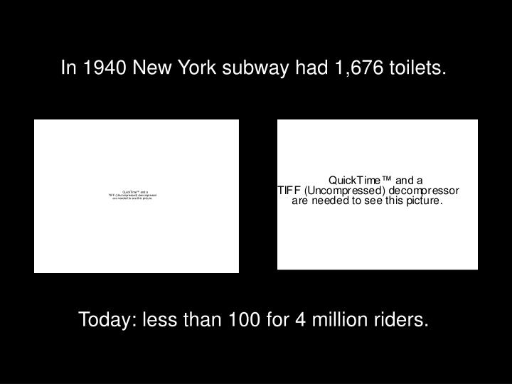 In 1940 New York subway had 1,676 toilets.