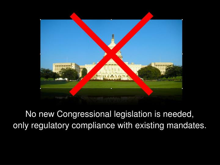 No new Congressional legislation is needed,