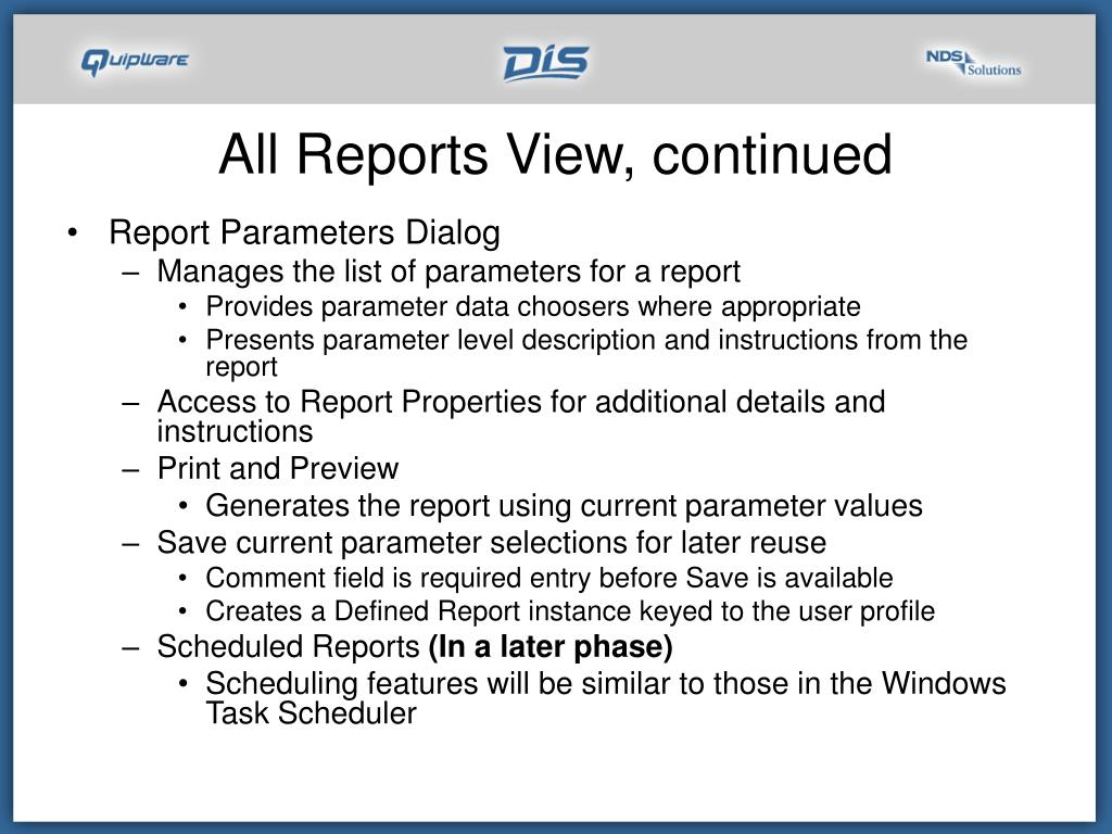 All Reports View, continued
