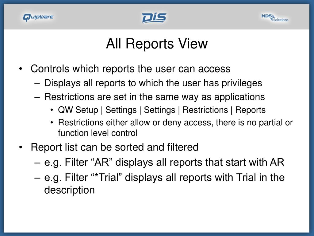 All Reports View