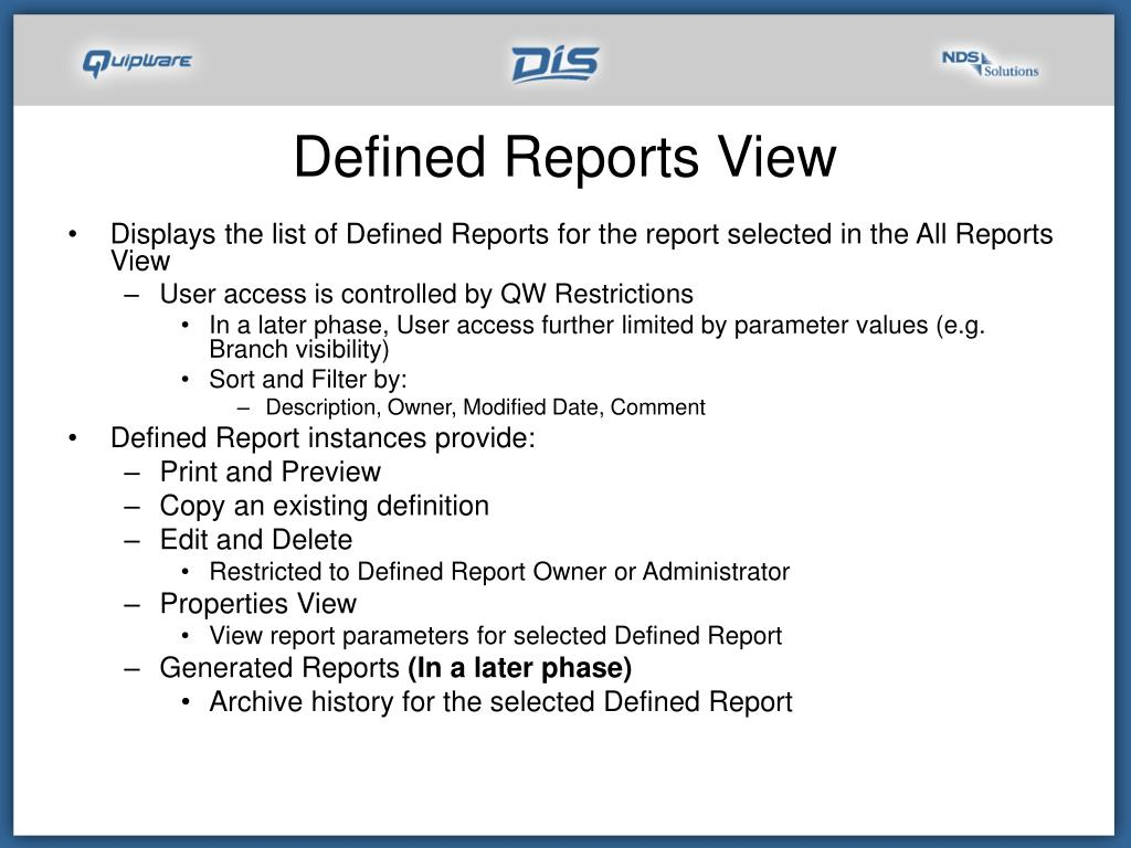 Defined Reports View